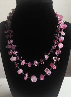 Extra long beaded necklace with Shades of Pink and Purple Glass Beads on Etsy, $15.00 #easterjewelry #easter #spring