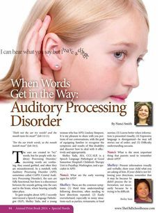 When Words Get in the Way: Auditory Processing Disorder – By Nanci Smith The Old Schoolhouse Magazine - 2014 Annual Print Book - Page Speech Language Pathology, Speech And Language, Auditory Processing Disorder, Auditory Processing Activities, Sensory Integration, Learning Disabilities, Auditory Learning, Therapy Activities, Sensory Therapy