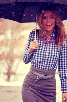 plaid blouse, pencil skirt, belt. so cute!