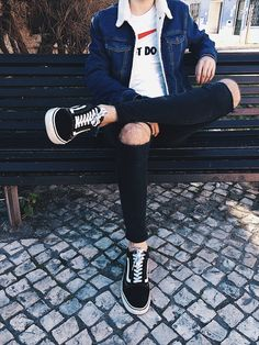 ripped jeans used vans ootd men  menswear inspiration nike shirt