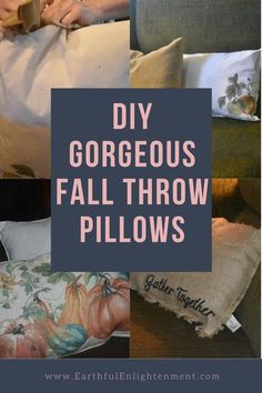 Do you want to make gorgeous DIY fall throw pillows for your home?  Using upcycled materials, you can easily create perfect fall decor. #falldecor #fallhomedecor #homedecor #fallpillows #throwpillows #upcycling Fall Home Decor, Autumn Home, Fall Pillows, Throw Pillows, Old Tee Shirts, Large Pillows, How To Make Pillows, Sustainable Living, Simple Living