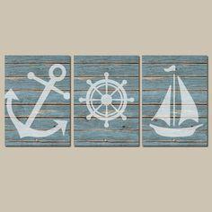 Nautical Wall Art CANVAS Or Prints Distressed Wood Effect Background Boy  Nursery Bathroom Decor Blue Ocean