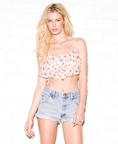 Rosebud Chiffon Crop Top, Forever 21; not sure I could pull this off.