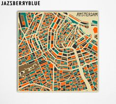 AMSTERDAM Map, Giclee Fine Art Print, Wall Art, Home Decor (13x13) by Modern Artist Jazzberry Blue