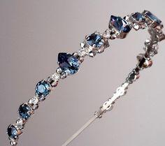 Swarovski headbandwedding headbandcrystal blue by ZTetyana on Etsy