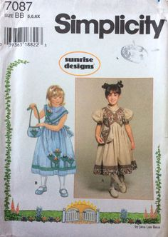 Simplicity 7087 UNCUT Girls Dress and Purse by Lonestarblondie on Etsy