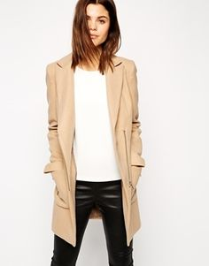 ASOS Coat With Biker Detail And Contrast Trim - Camel and pink