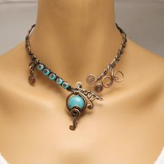 Statement Necklace, Turquoise Necklace, Open necklace, Copper Necklace For Women, Blue Stone Necklac Wire Necklace, Copper Necklace, Stone Necklace, Copper Wire Jewelry, Wire Wrapped Jewelry, Wire Jewellery, Unique Jewelry, Diy Jewelry, Jewelry Making