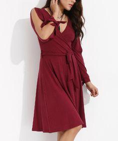 Look at this #zulilyfind! Bambina Mia Burgundy Tied Slit-Sleeve Surplice Dress by Bambina Mia #zulilyfinds