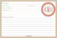 preppy monogram recipe cards.