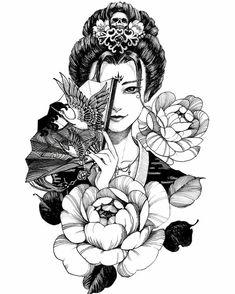Japanese Tattoo Art, Japanese Tattoo Designs, Japanese Sleeve Tattoos, Geisha Tattoo Sleeve, Geisha Kunst, Geisha Art, Geisha Drawing, Samurai Drawing, Tattoo Girls