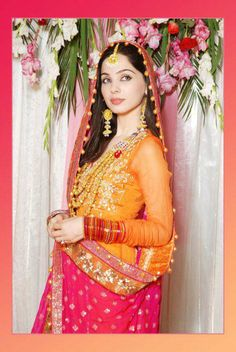 Mehndi Dress Yellow and Pink Anarkali Frock For Mehndi MC 41