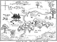 100 acre wood map for invitation + games and food ideas
