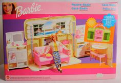 2000 RARE BARBIE ROCK N ROLL RADIO HOUSE BOOMBOX FOLDS OUT MATTEL NEW SEALED !
