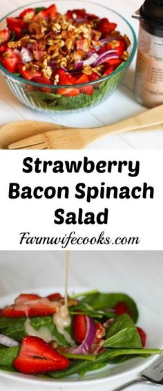Are you looking for a quick and easy salad recipe? This Strawberry Bacon Spinach Salad wont disappoint! It can be tossed together quickly and has an easy homemade dressing that tastes great! Easy Salad Recipes, Easy Salads, Side Dish Recipes, Dinner Recipes, Healthy Recipes, Ark Recipes, Simple Recipes, Shrimp Recipes, Lunch Recipes