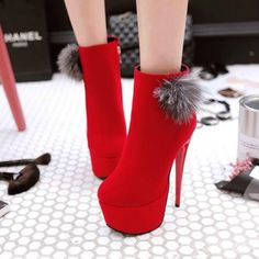 >> Click to Buy << Autumn and winter new rabbit hair ball short tube Martin boots female High heels with thin boots Red bare boots wedding shoes #Affiliate