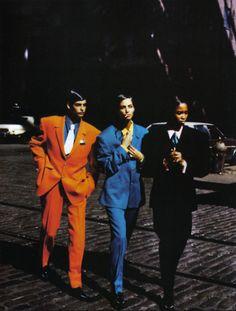 """""""Stile Gangster"""", Vogue Italia, February 1991 Photographer : Peter Lindbergh Models : Naomi Campbell, Linda Evangelista, Christy TurlingtonStylist : Elizabeth Dijan"""