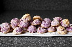 Raspberry Coconut Macaroons Recipe Desserts with sweetened coconut flakes, granulated sugar, large egg whites, sea salt, table salt, almond extract, fresh raspberries
