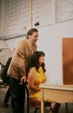 """Liz Taylor and Richard Burton during rehearsal for """"Who's Afraid of Virginia Woolf?"""" (1966)"""