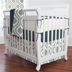 grey+and+navy+baby+bedding | Gray and Navy Raindrops Portable Crib Bedding