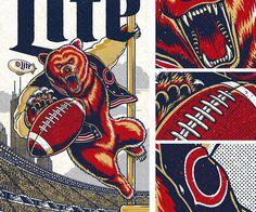 Poster design for Miller Lite and the Chicago Bears football team.