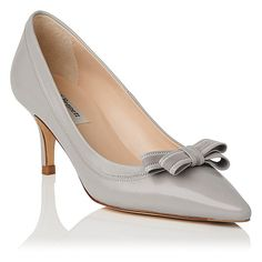 When invitations arrive for day-long events, the Lottie court will be your sartorial saviour. Rendered in the supplest grey mist nappa leather and standing on a heel, this pointed style is detailed with tonal stitching and a suede-adorned bow. High Heels, Shoes Heels, Pumps, Grey Leather, Leather Heels, Classic Style, My Style, Designer Heels, Feminine