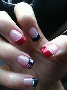 of july nails french manicure red white blue patriotic nail designs - small French Tip Nail Designs, French Nail Art, French Tip Nails, Nail Art Designs, French Manicures, Usa Nails, Patriotic Nails, 4th Of July Nails, July 4th