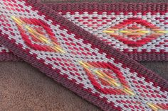 """Diamond Burst"" a guitar strap woven by Annie MacHale. #guitar #guitarstrap #inkle #inkleweaving"