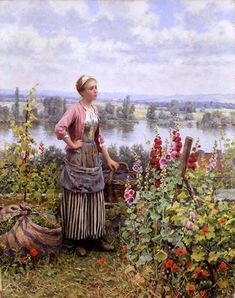 Maria on the Terrace with a Bundle of Grass, a reproduction oil painting by Daniel Ridgway Knight. Louis Aston Knight, Image Fruit, Image Nature, Images Vintage, Cottage Art, Hollyhock, Old Master, Event Calendar, Nature Scenes
