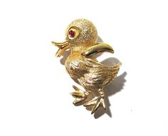 Monet Gold Duck Brooch VINTAGE Red Rhinestone Eye Gold Tone Easter Pin Signed Monet Ready to Wear Vintage Bird Jewelry Destash (F36) by punksrus on Etsy