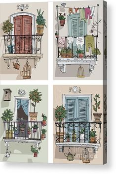 Set Of Cute Balcony - Cartoon Acrylic Print by Iralu. All acrylic prints are professionally printed, packaged, and shipped within 3 - 4 business days and delivered ready-to-hang on your wall. Choose from multiple sizes and mounting options. Art And Illustration, Watercolor Illustration, Watercolor Paintings, Watercolour, Building Illustration, Cartoon Illustrations, Cartoon Art, Cartoon Characters, Watercolor Architecture