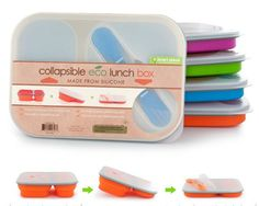 I use these eco-friendly silicone lunch boxes to pack my meals on the go. Everything fits in one divided container (One large & 2 small cups) with a handy double spoon/fork inside the lid. Plus it's collapsible for minimizing container storage! Lunch Containers, Food Storage Containers, Lunch Boxes, Shenzhen, Boite A Lunch, School Lunch Box, School Lunches, Work Lunches, Lunch Box Recipes