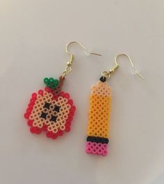 Excited to share this item from my shop: Back to school pencil and apple perler earrings Easy Perler Bead Patterns, Melty Bead Patterns, Perler Bead Templates, Diy Perler Beads, Perler Bead Art, Beading Patterns, Melty Beads Ideas, Art Patterns, Loom Patterns