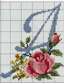 "Cross stitch monogram ""A"" Embroidery Alphabet, Ribbon Embroidery, Cross Stitch Embroidery, Embroidery Patterns, Stitch Patterns, Cross Stitch Letters, Cross Stitch Flowers, Cross Stitch Charts, Cross Stitch Designs"