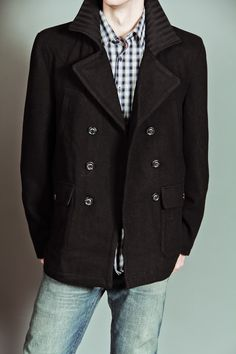 HAWKE HUGO WOOL PEACOAT WITH CHUNKY RIB COLLAR BLACK