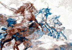 Paarden op hol in neutrale kleurtinten