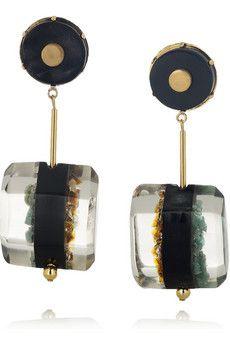 @Marni resin, horn and semi-precious stone earrings. I am OBSESSED!