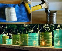 Materials: Recycled tin cans Hammer Nail 12 inch piece of bailing wire Pliers Outdoor spray paint Tea light  Remove labels from the can. Fill can with water and freeze. This will help the tin to hold its shape. Once frozen, take your nail and hammer and poke a hole on either side of the can, at the top, for the handle. Curl ends of the wire and slip through the holes. Use the hammer and nail to create your design. Once the ice has melted spray your can, put in your tea light, and you're…