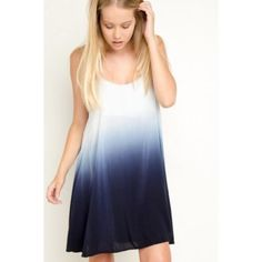 Brandy Melville Blue Tie Dye Tank Dress Great condition! White and blue tie dye fade dress. Flowy. Adjustable straps. Brandy Melville Dresses Midi