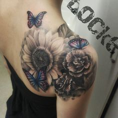 Image result for carnation and butterfly tattoo #TattooIdeasShoulder