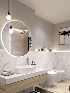 The most interesting about having a modern bathroom is on its simplicity without losing its function. Here, we want to share with you 10 modern bathroom design ideas which will inspire to remodel your old-fashioned bathroom. Room Design, Bathroom Interior Design, Trendy Bathroom, Modern Bathroom Design, Bathroom Mirror, Bathroom Renovations, Luxury Bathroom, Bathrooms Remodel, Bathroom Decor