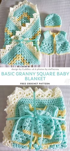 Basic Granny Square Baby Blanket Free Crochet Pattern - - Simple granny stripe stitch is a great way to create something cute and comfy. This basic technique is very popular. Baby Afghan Crochet, Crochet Blanket Patterns, Crochet Granny, Baby Patterns, Easy Crochet, Free Crochet, Knitting Patterns, Granny Pattern, Baby Afghans