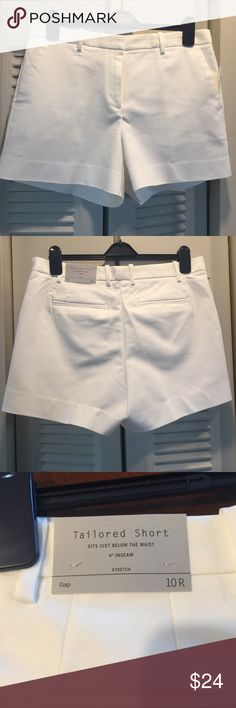 """NWT Gap White Tailored 4"""" Shorts - 10r NWT Gap White Tailored 4"""" Shorts - 10r - selling the same shorts in black - check out my closet, lots of Lilly Pulitzer and J.crew!!! GAP Shorts"""