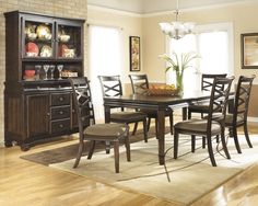 Hayley RECT Dining Room EXT Table with 6 UPH Side Chairs