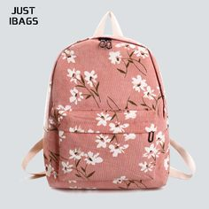 bd593939a6 Fashion Flowers floral Printing women Backpack Corduroy college School Bags  For Teenager Girls Student Travel Bag