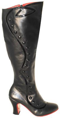 """Fluevog Lourdes Boots style #lourdes leather boots - black  Okay.. so if you have a fuller calf and are always have problems finding boots to fit THESE are the boots for you! They are knee high and everyone who is fuller in the calf that has tried these on has bought a pair! These Peruvian made button boots are soft leather with patent trim and feature a heel that measures 3"""". These run a half size larger than you may think, so if in doubt - order up.  $418.00"""