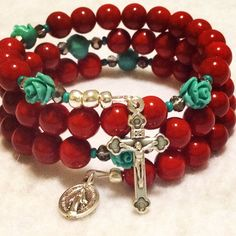 A personal favorite from my Etsy shop https://www.etsy.com/listing/122453618/southwest-red-bamboo-coral-and-turquoise