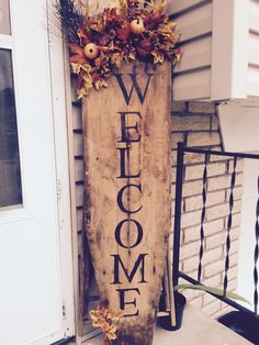 Ironing Board Welcome Sign in front porch