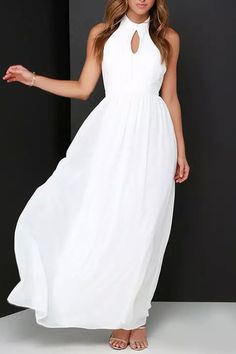 White Waterdrop Cutout Backless Chiffon Maxi Dress