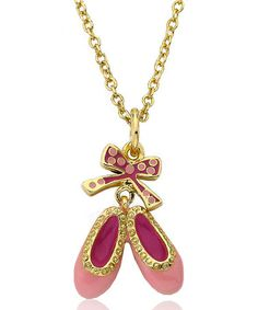 Another great find on #zulily! Gold & Pink Polka Dot Bow Ballet Shoe Pendant Necklace #zulilyfinds